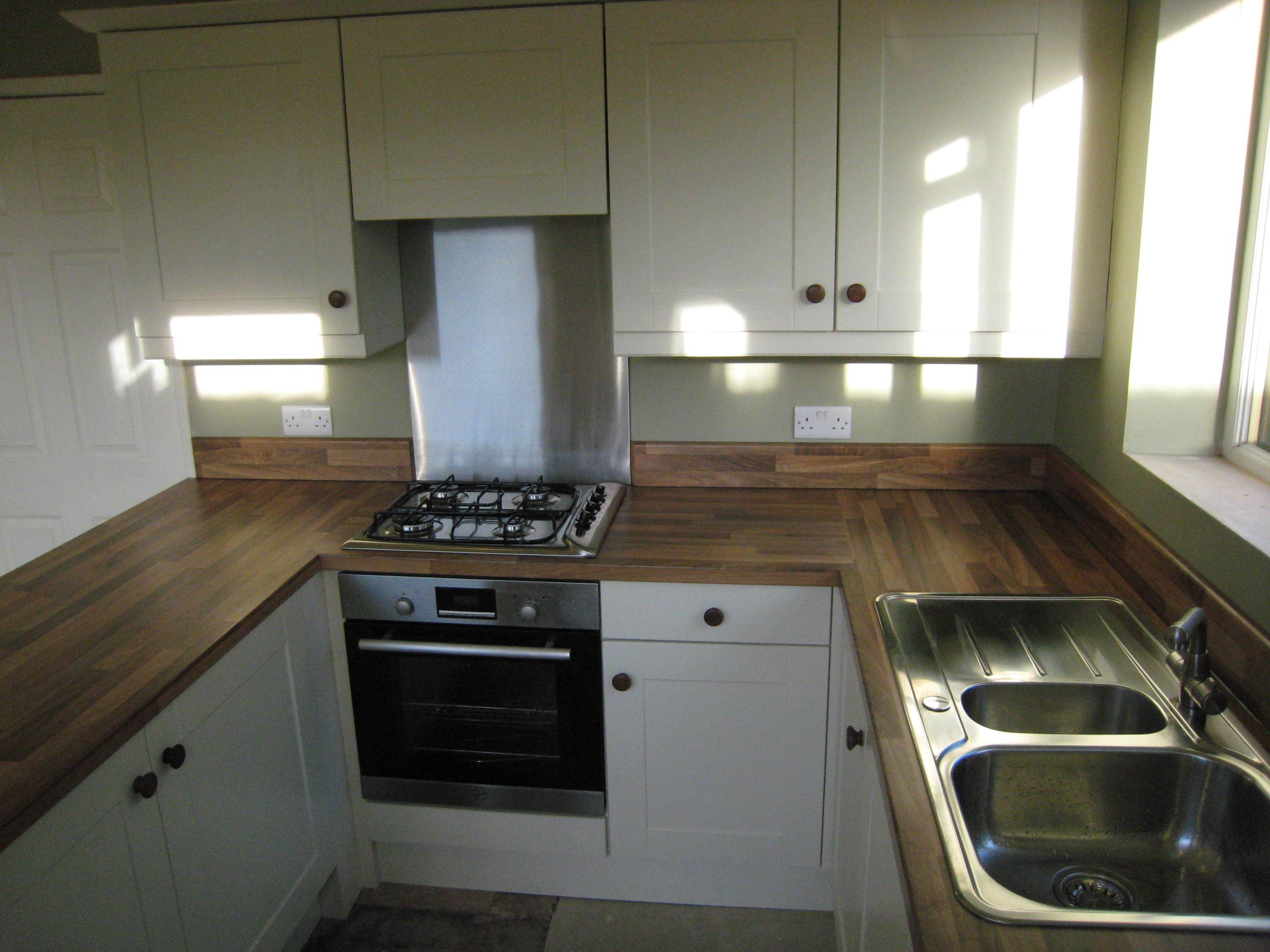 Ivory Kitchen With Walnut Block Worktops
